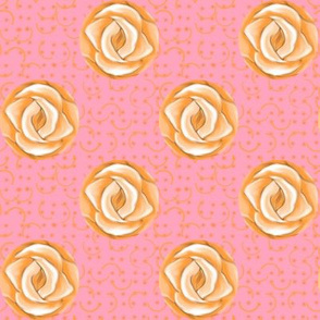 Peach Rose Polka Dots on Pink