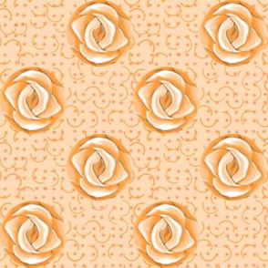 Peach Polka Dot Roses on Semicircle Background