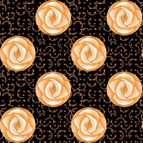Peach Polka Dot Roses on Black