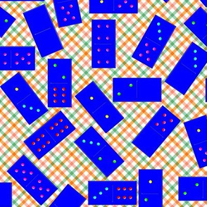 Blue Dominoes Pattern on Gingham