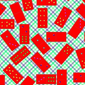 Red Dominoes Pattern on Gingham