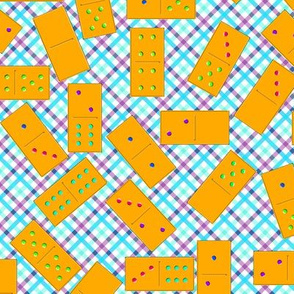 Orange Dominoes Pattern on Gingham