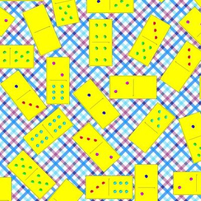 Yellow Dominoes Pattern on Gingham
