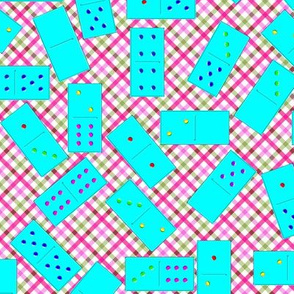 Cyan Dominoes Pattern on Gingham