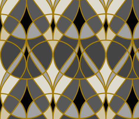 deco gold and silver fabric by tangledvinestudio on Spoonflower - custom fabric