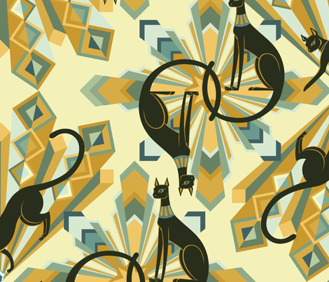 Art Deco Cats in Gold Big fabric by pinkowlet on Spoonflower - custom fabric