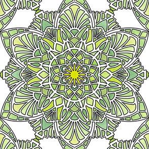Art Deco Watercolor Yellow Green