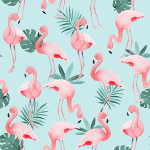 Watercolor Mint Flamingos