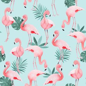 Watercolor Mint Flamingos