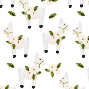 floral llamas // large