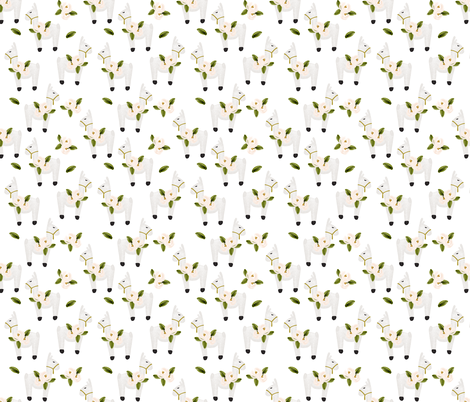 floral llamas fabric by ivieclothco on Spoonflower - custom fabric