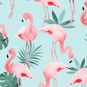 Watercolor Mint Flamingos - BIG