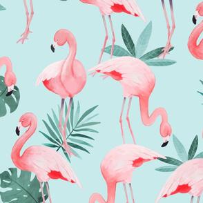 Watercolor Mint Flamingos - BIG