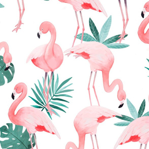 Watercolor White Flamingos - BIG