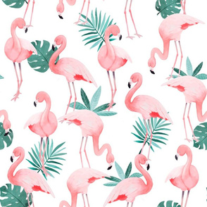 Watercolor White Flamingos