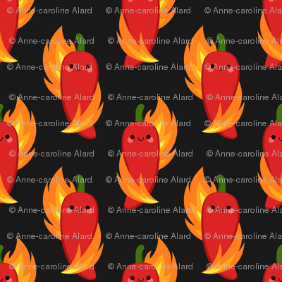 Red chili peppers and fire
