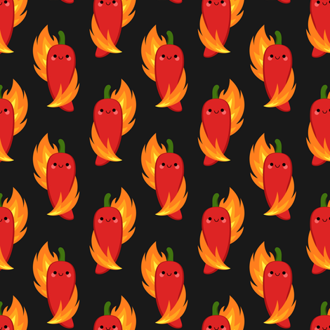 Red chili peppers and fire fabric by petitspixels on Spoonflower - custom fabric