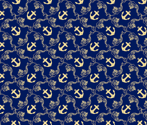 medium mermaid and anchor cream on navy fabric by heretherebemonsters on Spoonflower - custom fabric