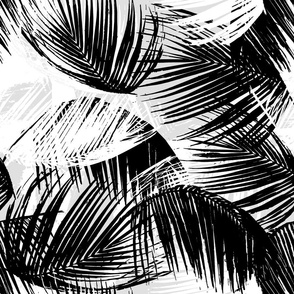 palm leaves - black