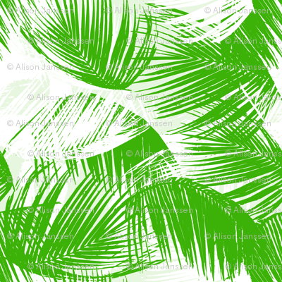 palm leaves - green