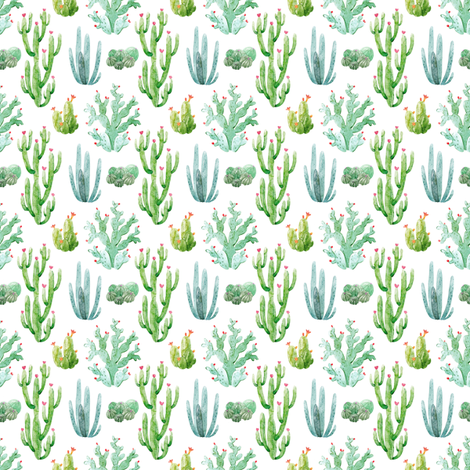 "2"" Watercolor Desert Cactus // White fabric by hipkiddesigns on Spoonflower - custom fabric"
