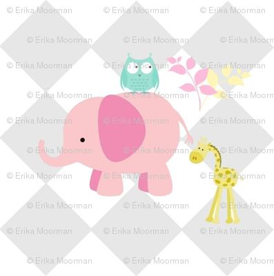 elephant owl diamonds  -MED 6 pink