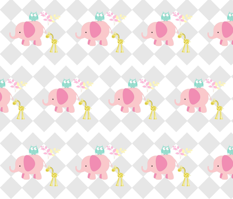 elephant owl diamonds  -MED 6 pink fabric by drapestudio on Spoonflower - custom fabric