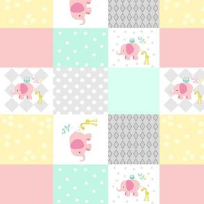 Elephant friends pink mint- 14 cheaters quilt