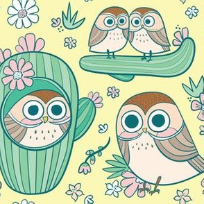 cactus pygmy owls in lemon yellow