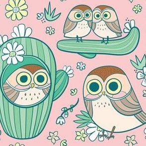 cactus owls in peach tint