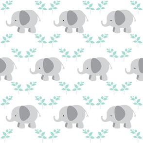 Elephants in A Row 6 - Gray/mint leaves