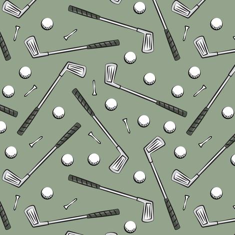 golf clubs - sage fabric by littlearrowdesign on Spoonflower - custom fabric