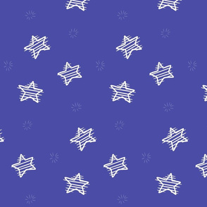 Scratched Stars on blue