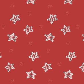 Scratched Stars on red