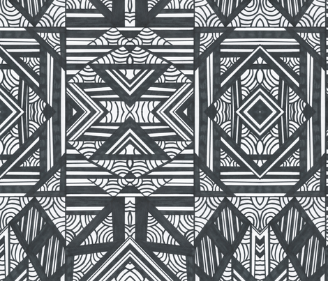 Black and White Art Deco fabric by lynx2lancer on Spoonflower - custom fabric