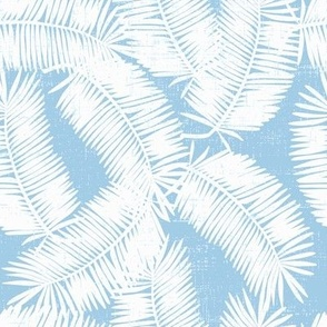 vintage palm fronds in light blue