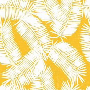 white palm fronds on marigold