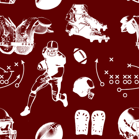 American Football // Burgundy // Large fabric by thinlinetextiles on Spoonflower - custom fabric