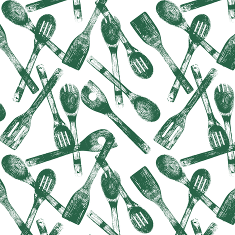 Jade Cooking Spoons // Small fabric by thinlinetextiles on Spoonflower - custom fabric