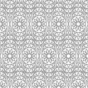 art deco medallion - black and white