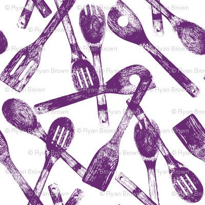 Purple Cooking Spoons // Small