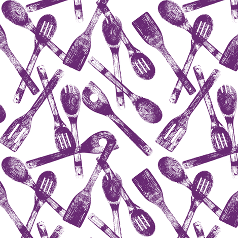 Purple Cooking Spoons // Small fabric by thinlinetextiles on Spoonflower - custom fabric