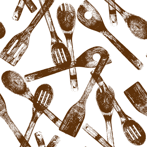 Brown Cooking Spoons // Large fabric by thinlinetextiles on Spoonflower - custom fabric