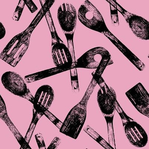 Cooking Spoons on Pink // Large