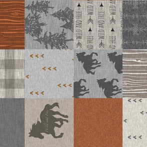 wild horses patchwork - Rust and grey - ROTATED