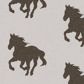 """4"""" Running Horse - Dark Brown on ivory"""