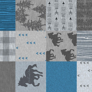 wild Horses Patchwork- Denim - ROTATED