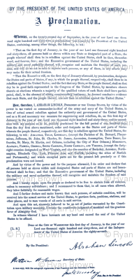 Emancipation Proclamation in Blue Ink // Large