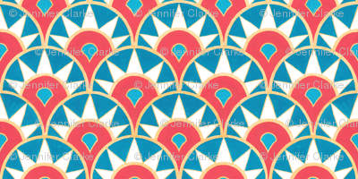 Deco Delight (large scale) - coral/teal