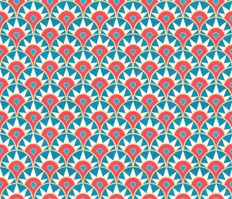Deco Delight (large scale) - coral/teal fabric by jenuine_designs on Spoonflower - custom fabric